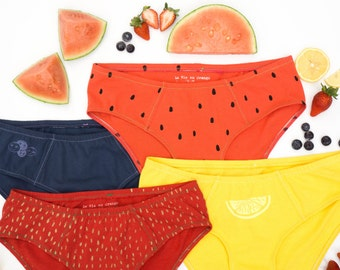Women's Handmade Underwear Multi-Pack - Fruit Salad:  Strawberry, Watermelon, Lemon & Blueberry - Made to Order