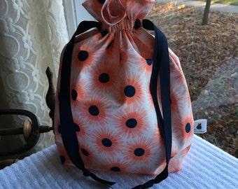 Large Knitting/Crochet Project Drawstring Bag - Flower Burst