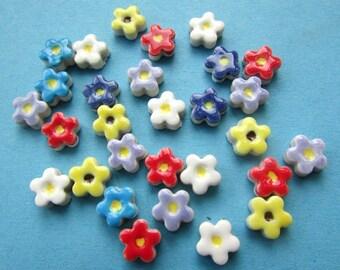 30 mosaic flower tiles, handmade ceramic pretty blossom shapes