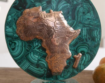 Vintage Malachite Upright Disc with Hand Engraved Copper Map of Africa - Home and Office Sculpture