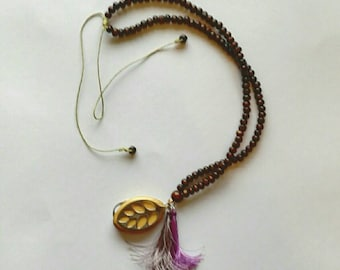 Mini mala 108 beads can be worn with or without Bellabeat Leaf wooden mini mala bellabeat leaf necklace dark wood beads.