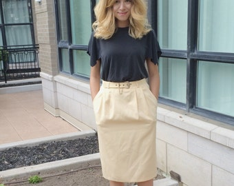 Vintage Pale Yellow Skirt and Matching Belt
