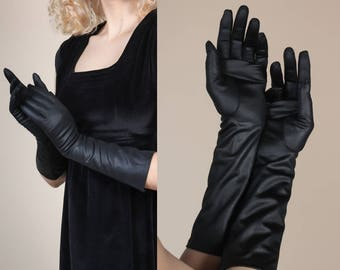 Vintage 1950s Evening Gloves // Formal Long Black Opera Gloves