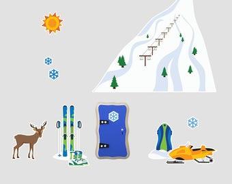 Fairy Door - Winter Sports Wall Decals (Boys)