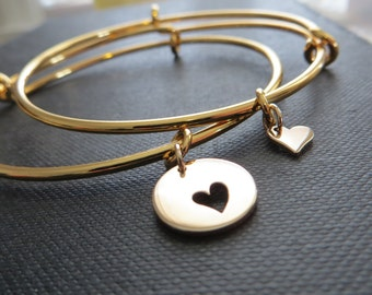 Mother of the bride gift, heart cutout bangle bracelet, wedding gift for mom from daughter, matching jewelry set, mob, mothers day gift
