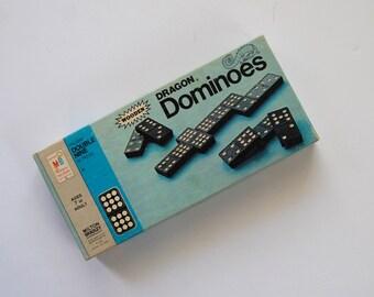 Vintage Domino Game, Dragon Dominoes, Milton Bradley, Vintage Wooden Dominoes
