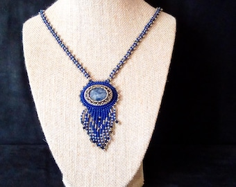 Sodalite Blue Fringed Necklace