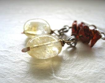 Amber Earrings, Baltic Amber Citrine Stone Earrings, Handmade Baltic Amber Gemstone Dangle Drop Earrings Jewelry, Citrine Earrings