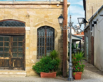 Old street in Cyprus-Polis-Traditional mediterrenian houses-Mediterranean architecture-Printed photography