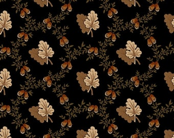 Yardage, Buttermilk Basin by Stacy West, Henry Glass Fabrics, Oak Leaf Toss in Black, Traditional Quilt, Reproduction Fabric, Civil War
