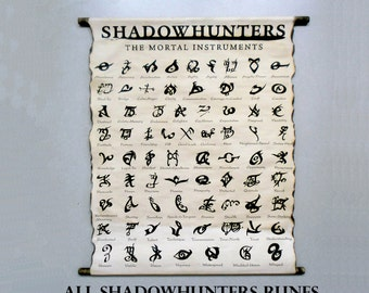 SHADOWHUNTERS All Runes, The Mortal Instruments Books Runes by Cassandra Clare, All Shadowhunters Runes on Handmade Scroll Poster