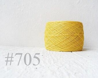 Pastel yellow linen crochet thread - light  yellow laceweight  linen yarn # 705