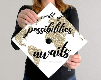 Graduation Cap Decal | DOWNLOAD ONLY | Gold Globe | Graduation Cap | Grad Cap | Custom