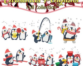 Machine Embroidery Designs  - Christmas Penguins Collection of 6