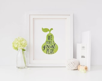 Funny art | pear print | funny kitchen decor | instant download pear decor | digital download | funny kitchen sign | fruit decor | puns