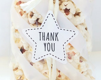 24 Star thank you stickers, for you, gift labels, gift sticker, thank you label, favor sticker, party supplies, gift packaging, star sticker