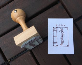 Medical Book Ex Libris Bookplate Stamp Aeskulap Snake Ex Libris Stamp with wooden holder - ready for shipping