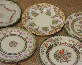 Vintage / Antique Mismatched Dishes / Transferware Dishes / Wall Dishes / Shabby Cottage Wall Decor / Austrian English Bread Dishes