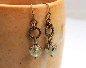 Light green stone earrings, French hooks, prehnite and brass dangle