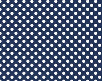 KNIT Riley Blake Small Dots Navy Knit (Half metre)