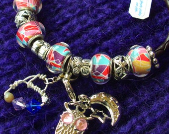 MURANO Bracelet- Marvelous! Picasso Cubism style, Lamp work European beads, Leather braided bracelet, RedRobinArt, Grigsby Gallery and Gifts