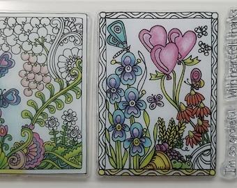 Spring Clear Rubber Stamp Set by Hampton Art w/ balloon, heart, butterfly, iris, grateful, thanks, fern, flower,wheat, dragonfly
