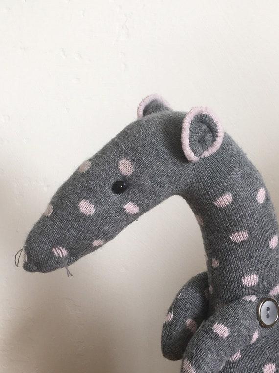 Sock Rat soft toy handmade re-purposed long knee sock grey and pink