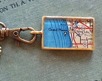 Grand Haven Michigan Map Necklace, Gold Map Pendant Necklace , Travel Gift