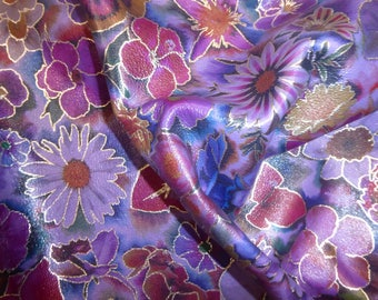 """Leather 8""""x10"""" STERLING BLOOMS on PURPLE Silver outlined flowers Floral Cowhide 2.5 oz / 1 mm PeggySueAlso™ E7000-02"""