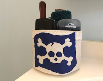 JOLLY ROGER Pirate Extra Small Storage Bucket bag from recycled sail cloth by SailAgainBags