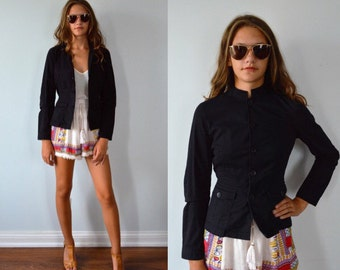 Vintage Black Cotton Jacket, Ladies Black Jacket, Vintage Jacket, Summer Jacket, Ralph Lauren, Casual Jacket