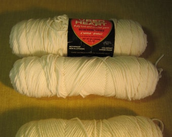 3 skeins yarn, 2 off white, 1 antique white, Red heart Coats and Clarks, 4 ply virgin orlon acrylic, 9 oz total
