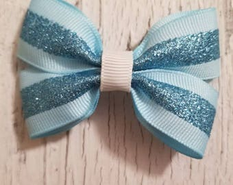 Blue Glitter print Bow on French barrette