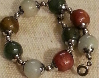 CLEARANCE Assorted Color Stone Bracelet,  Vintage, Silver Tone Bead Caps, Snap Clasp