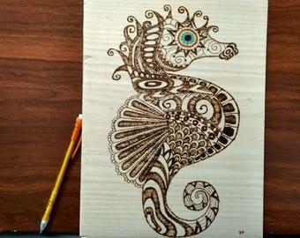 "Pyrography Woodburning, Seahorse, 11"" x 8.5"""