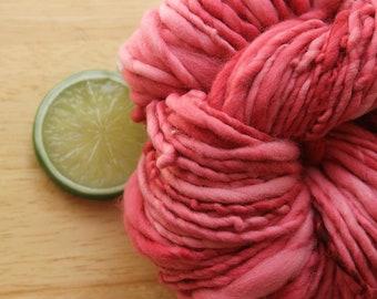 Paper Heart - Handspun Hand Dyed Tonal Merino Wool Fat Yarn Red Pink Bulky