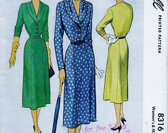 UNCUT * 1950's  McCall's Pattern 8316  - Beautiful Day or Night Dress w/ Shawl Collar  // Size 18, Bust 36