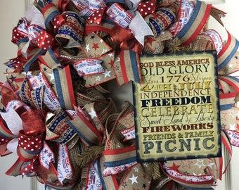 Rustic Wreath, Patriotic Wreath, 4th of July wreath, Vintage wreath,  Red White and Blue Wreath, Rustic door hanger