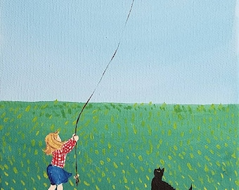 """The Patchwork Kite, a 7"""" x 14""""  original Frannie and Susie acrylic painting on canvas"""