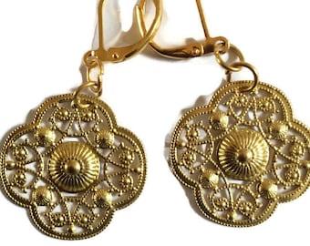 Shield filigree cut out raw brass handmade earrings for pierced ears nickel free