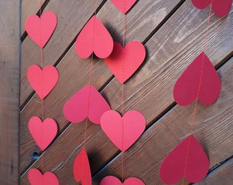 "Love style 2"" or 3"" heart garland, paper garland, Wedding decor, Party decor, Paper string decor"