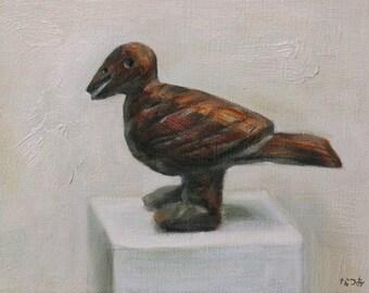 Original oil painting - Umber brown wooden bird