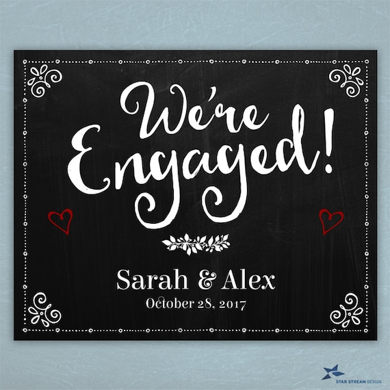Printable Chalkboard Were Engaged Signs Black Sizes - Custom vinyl decal application instructions pdfapplication etsy