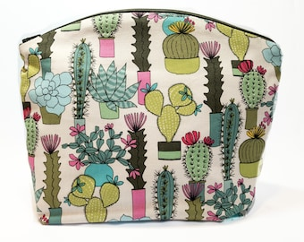 Large Succulent Makeup Bag, Small Knitting and Crochet Project Bag, Cactus Cosmetics Pouch, Washable Lined Travel Accessory, Purse Organizer