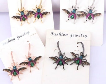 4Pairs for women lifelike Bugs Dangle Earrings CZ Micro Pave Insect Jewelry Earrings