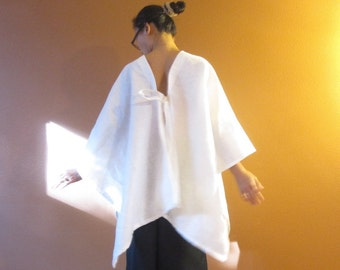 handmade eco linen origami wrap made to order / linen wrap poncho / open side seams / custom color / boho linen wrap