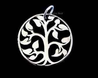 Silver Tree of LIfe Charm, 2 Sterling Silver Small Tree of LIfe Charms- 15 x15mm
