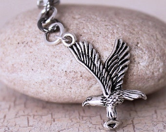 Flying Eagle Dust Plug Charm - Antique Silver Bald Eagle Pewter Charm, Cell Phone Charm, Bird in Flight