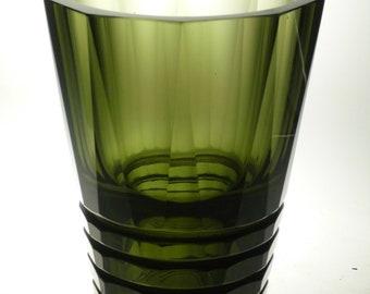SALE Czech art glass cut vase Moser