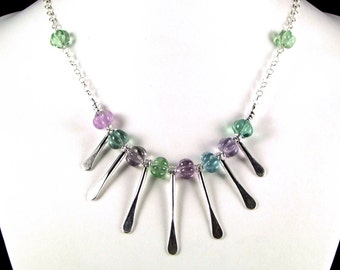 Spectacular Carved Fluorite & Sterling Silver Necklace - N526